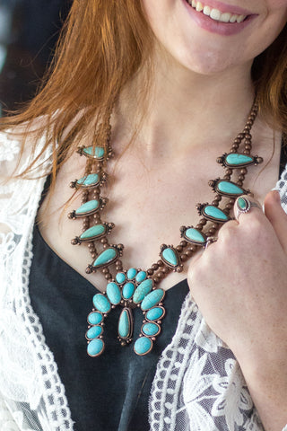 The Spirit Lake Squash Blossom - Turquoise Necklace - Saddles & Lace Boutique - Western and boho inspired clothing, bags, and accessories for women
