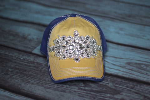 High Deco Trucker Hat Blue & Gold- Olive & Pique - Saddles & Lace - New western and southwest inspired clothing, bags, and accessories for women