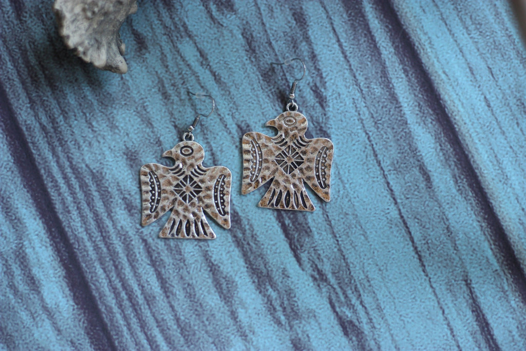 Silver Thunderbird Earrings - Saddles & Lace - Jewelry - 1