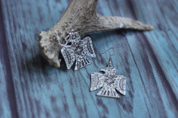 Silver Thunderbird Earrings - Saddles & Lace - Jewelry - 2