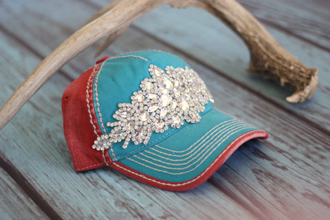 High Deco Trucker Hat Aqua & Red- Olive & Pique - Saddles & Lace - Hats & Headbands - 1