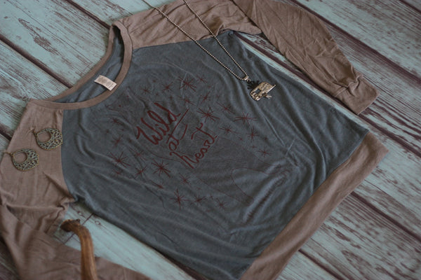Wild At Heart Baseball Tee - Saddles & Lace - Tees, Tanks, & Hoodies - 2