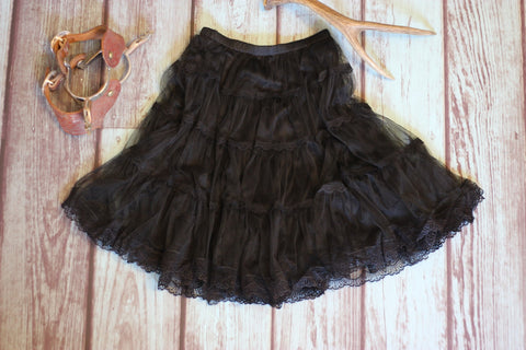 Mid-Town Prairie Skirt - Black - Saddles & Lace - Pants, Shorts, & Skirts - 1