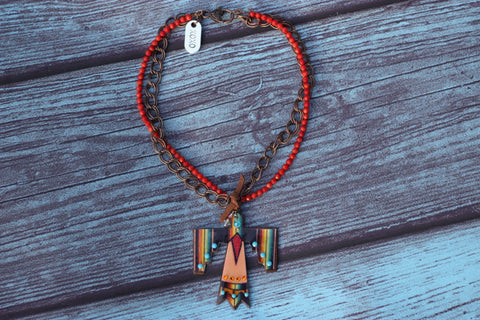 Serape Thunderbird Necklace - Saddles & Lace - New western and southwest inspired clothing, bags, and accessories for women