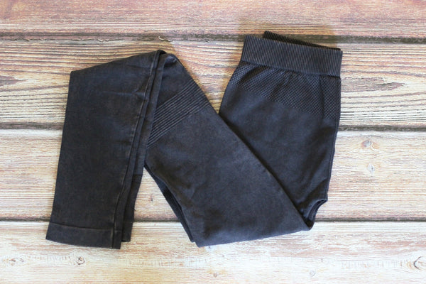 Vintage Knee Shirring Long Leggings - Charcoal - Saddles & Lace - New western and southwest inspired clothing, bags, and accessories for women