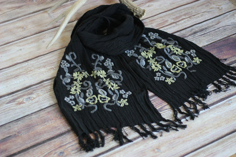 Black Consuelo Scarf - Saddles & Lace - New western and southwest inspired clothing, bags, and accessories for women