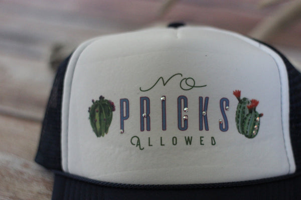 'NO Pricks Allowed' Ladies Trucker Hat - Saddles & Lace - New western and southwest inspired clothing, bags, and accessories for women