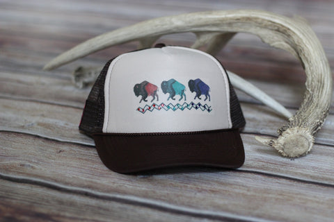 'Buffalo Dreams' Ladies Trucker Hat - Saddles & Lace - New western and southwest inspired clothing, bags, and accessories for women