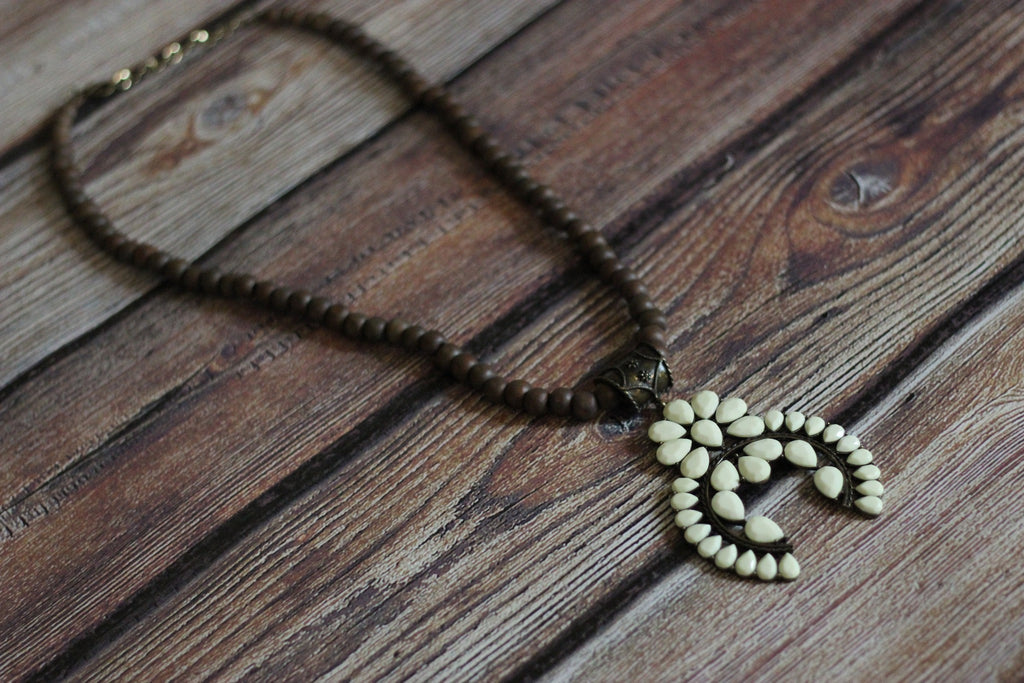 'Wooded Tribe' Squash Blossom Necklace - Ivory