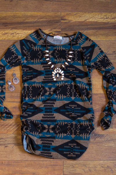 'The Pueblo' Top - Teal - Saddles & Lace Boutique - Western and boho inspired clothing, bags, and accessories for women