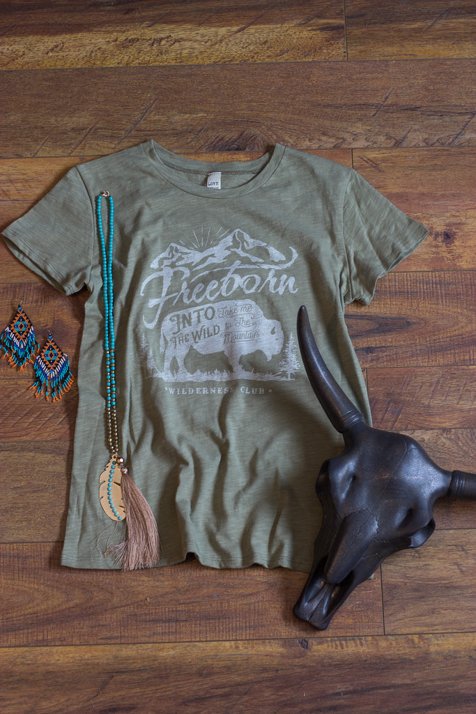 Freeborn Wilderness Crew - Olive Tee Shirt - Saddles & Lace Boutique - Western and boho inspired clothing, bags, and accessories for women
