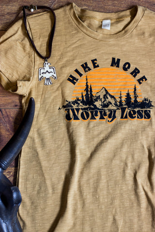 Worry Less - Hike Tee Shirt in Mustard - Saddles & Lace Boutique - Western and boho inspired clothing, bags, and accessories for women