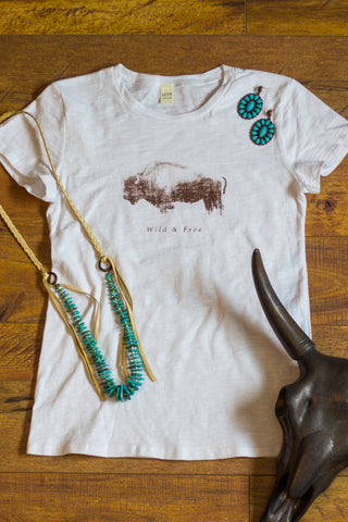 Wild & Free Buffalo - White Tee Shirt