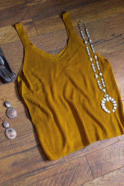 Golden Rod Ribbed Tank - Saddles & Lace Boutique - Western and boho inspired clothing, bags, and accessories for women