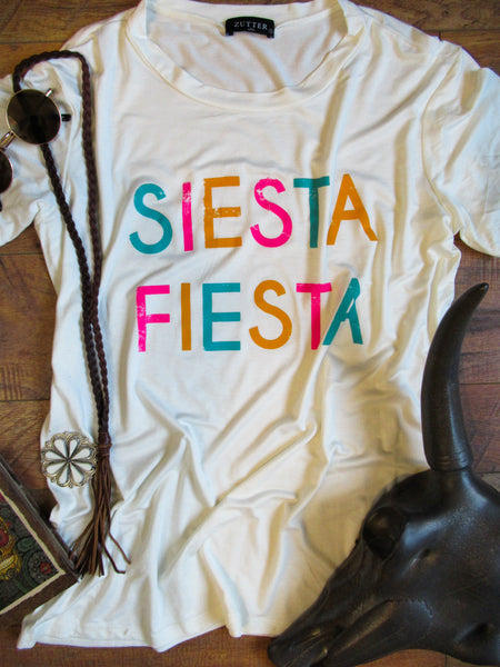 Siesta Fiesta - Crew Neck Tee Shirt - Saddles & Lace Boutique - Western and boho inspired clothing, bags, and accessories for women