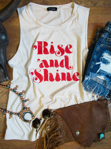 Rise and Shine - Crew Neck Tank - Saddles & Lace Boutique - Western and boho inspired clothing, bags, and accessories for women