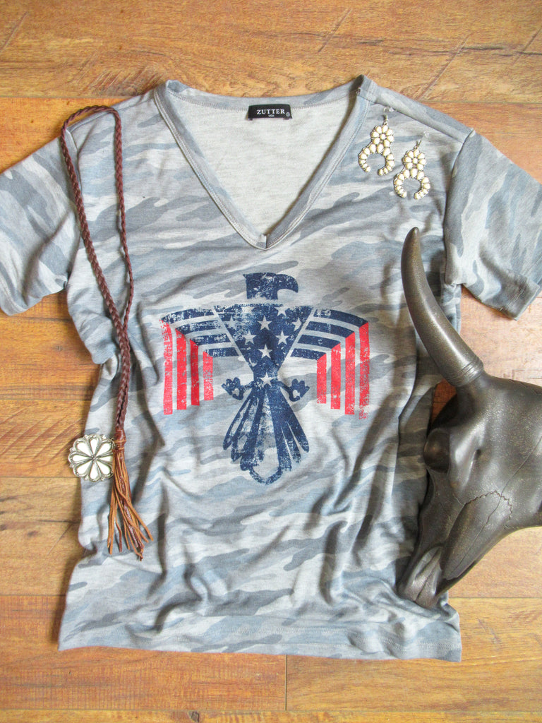The Patriot - V-Neck Tee Shirt - Saddles & Lace Boutique - Western and boho inspired clothing, bags, and accessories for women