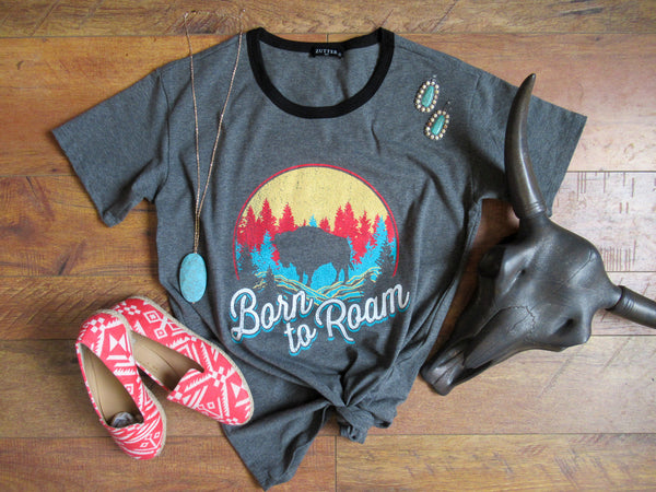 Born To Roam - Scoop Neck Tee Shirt - Saddles & Lace Boutique - Western and boho inspired clothing, bags, and accessories for women