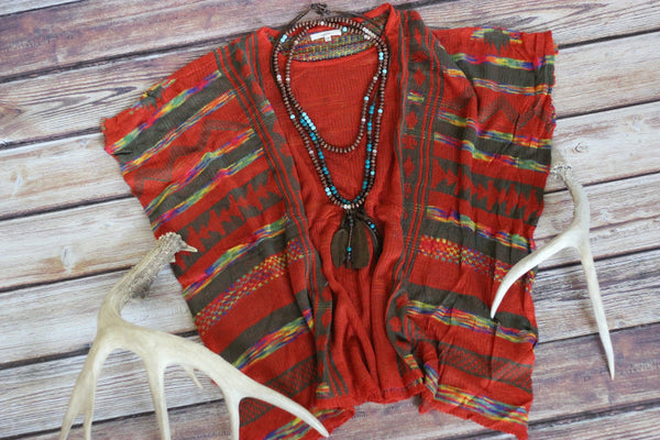 Moody Ranch Poncho - Brick Aztec Print Sweater - Saddles & Lace - New western and southwest inspired clothing, bags, and accessories for women