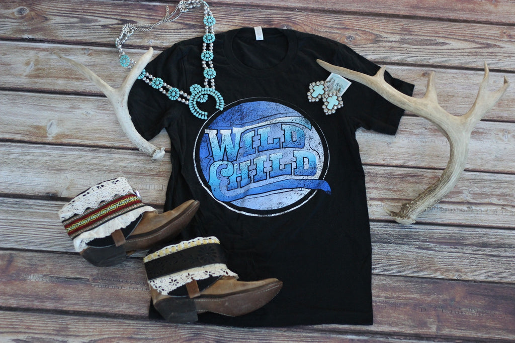 Wild Child - Vintage Inspired Tee - Saddles & Lace - New western and southwest inspired clothing, bags, and accessories for women