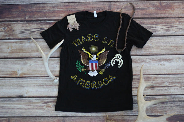 Made In America- Vintage Inspired Tee - Saddles & Lace - New western and southwest inspired clothing, bags, and accessories for women