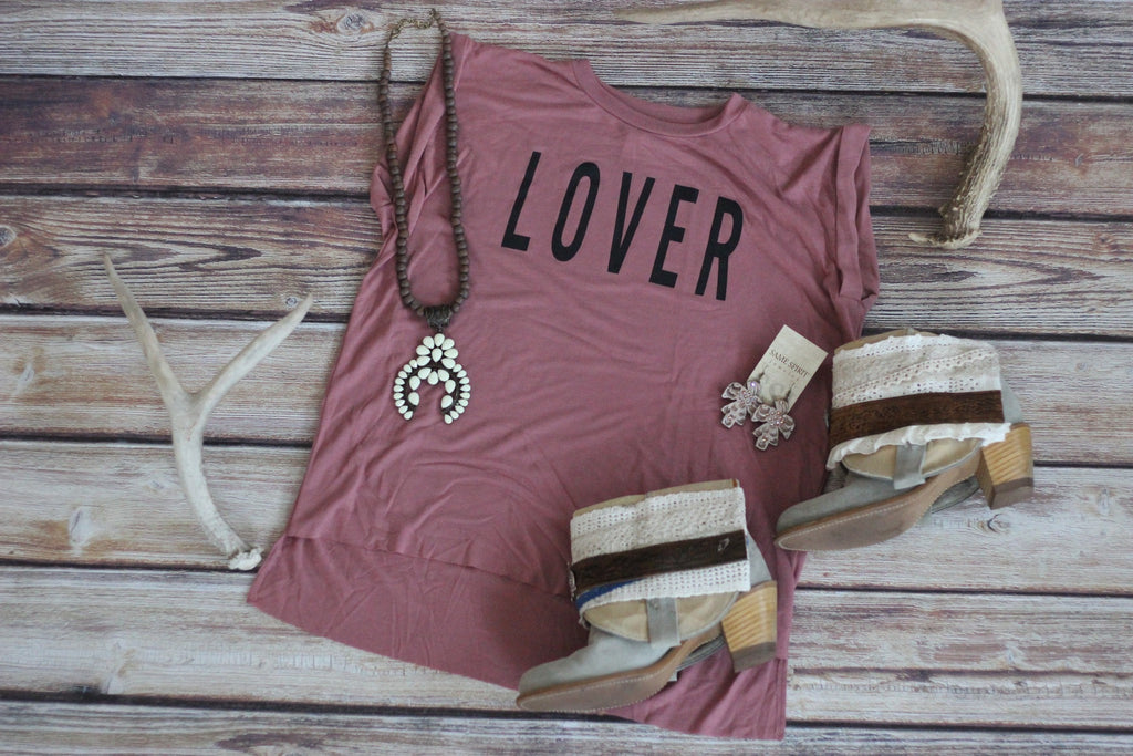 Lover Lover Tee - Saddles & Lace - New western and southwest inspired clothing, bags, and accessories for women