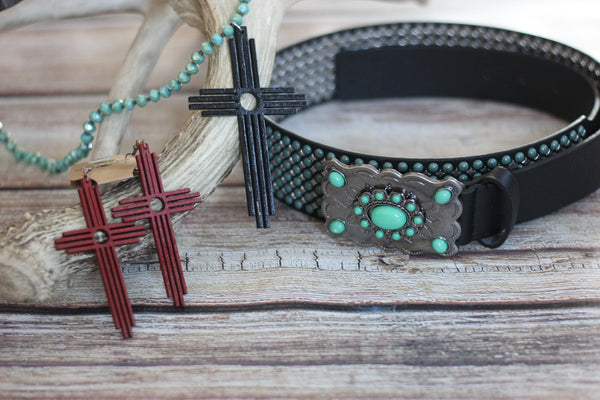 The Old Rugged Cross - Earrings Avail in Black or Red - Saddles & Lace - New western and southwest inspired clothing, bags, and accessories for women