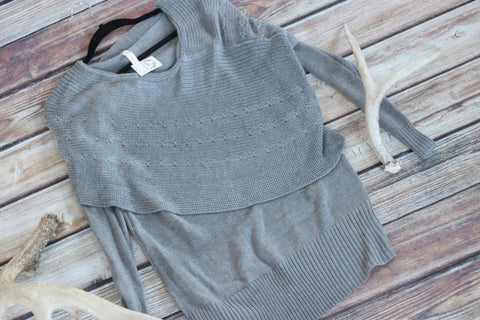 Gray Tiered Sweater - Tunic Length