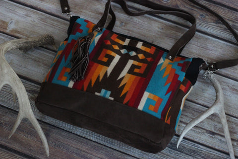 Adobe Wells Sunset- Pendleton Boho - Diaper Bag / Weekender - Handmade - Saddles & Lace - New western and southwest inspired clothing, bags, and accessories for women