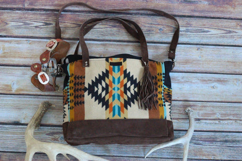Desert Dweller - Pendleton Boho - Diaper Bag / Weekender - Handmade - Saddles & Lace - New western and southwest inspired clothing, bags, and accessories for women