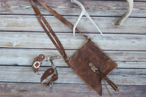 Coachella Goddess - Handmade Leather Messenger Bag - Saddles & Lace - New western and southwest inspired clothing, bags, and accessories for women