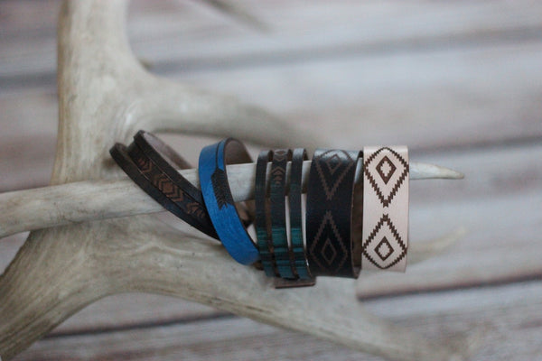 Black Aztec - Leather Cuff Bracelet - Saddles & Lace - New western and southwest inspired clothing, bags, and accessories for women