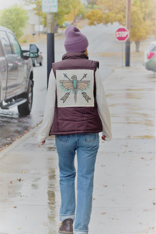 Southwest Thunderbird on Brown Puff Vest