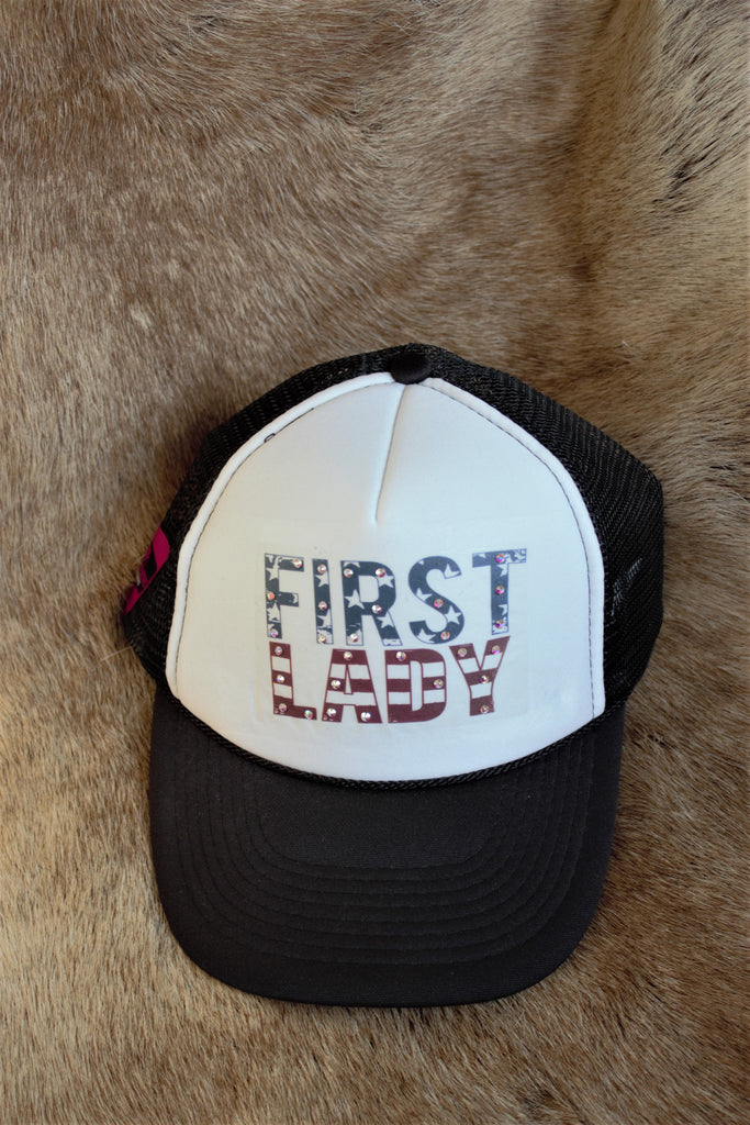 First Lady Trucker Hat - Saddles & Lace Boutique - Western and boho inspired clothing, bags, and accessories for women