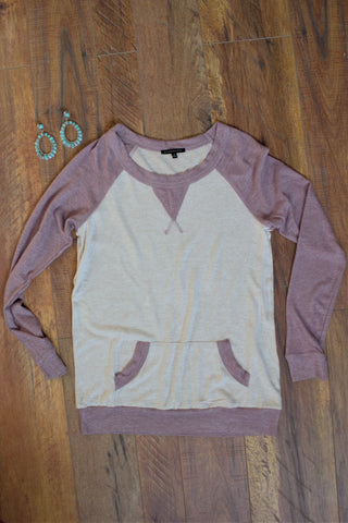 Oatmeal & Lilac Sweater - Saddles & Lace - New western and southwest inspired clothing, bags, and accessories for women