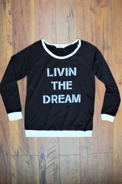 Living The Dream Black Sweatshirt - Saddles & Lace - New western and southwest inspired clothing, bags, and accessories for women