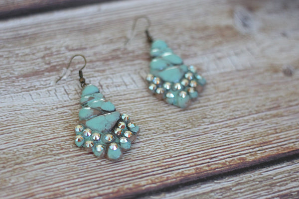 The Turquoise Candelabrum - Clay Earrings - Saddles & Lace - New western and southwest inspired clothing, bags, and accessories for women