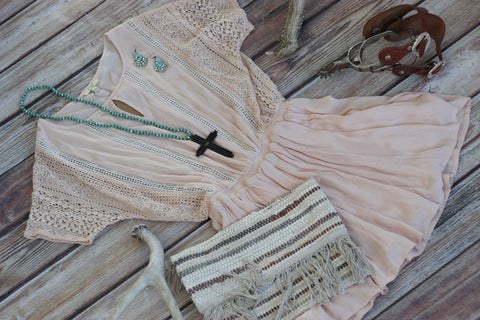 Ain't She A Peach - Spring Dress - Saddles & Lace - New western and southwest inspired clothing, bags, and accessories for women