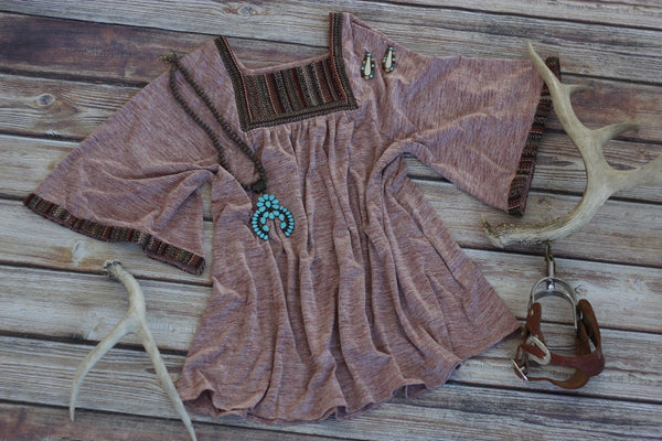 Mauve Bell Sleeve Dress - Saddles & Lace - New western and southwest inspired clothing, bags, and accessories for women