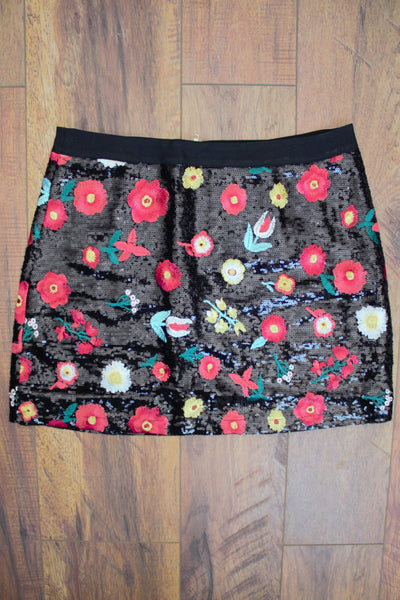 'The Mini Monday' Sequin Embroidered Flower Skirt - Saddles & Lace Boutique - Western and boho inspired clothing, bags, and accessories for women
