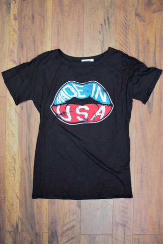 Made In USA Rocker Tee Shirt - Saddles & Lace Boutique - Western and boho inspired clothing, bags, and accessories for women