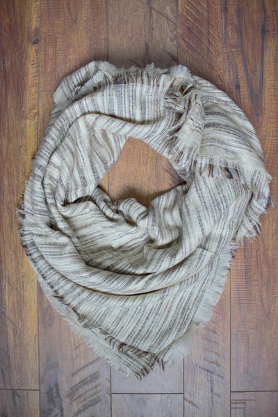 Orchard Prairie Blanket Scarf - Oatmeal - Saddles & Lace - New western and southwest inspired clothing, bags, and accessories for women