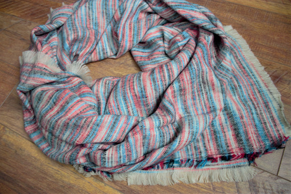 Orchard Prairie Blanket Scarf -Teal/Red - Saddles & Lace - New western and southwest inspired clothing, bags, and accessories for women