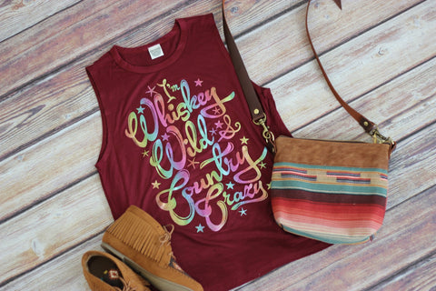 Whiskey Wild Graphic Tank - Saddles & Lace - New western and southwest inspired clothing, bags, and accessories for women