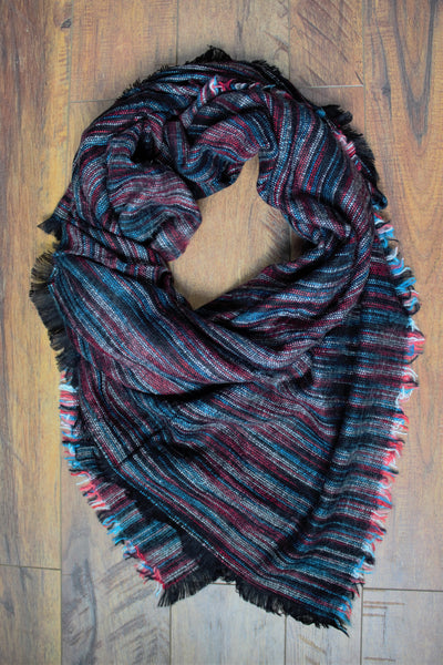 Orchard Prairie Blanket Scarf -Black/Turquoise - Saddles & Lace Boutique - Western and boho inspired clothing, bags, and accessories for women