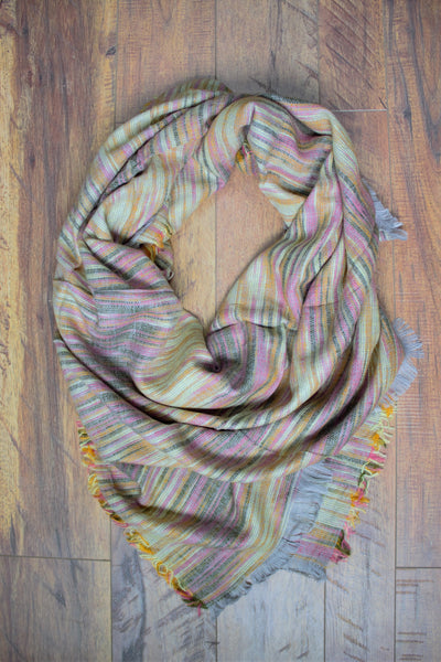 Orchard Prairie Blanket Scarf -  Yellow / Pink - Saddles & Lace - New western and southwest inspired clothing, bags, and accessories for women