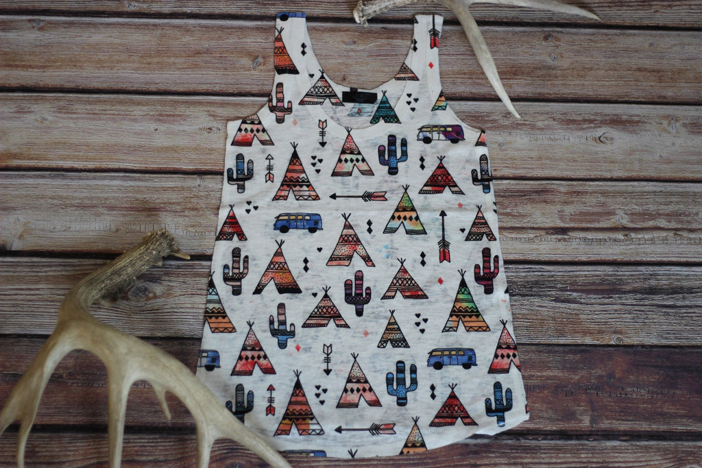 Tepee Town Sublimationed Graphic Tank - Saddles & Lace - New western and southwest inspired clothing, bags, and accessories for women