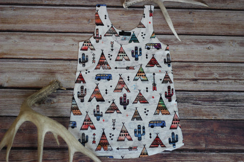 Tepee Town Sublimationed Graphic Tank - Saddles & Lace Boutique - Western and boho inspired clothing, bags, and accessories for women