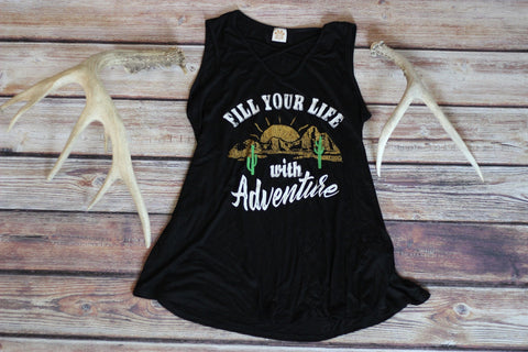 Life of Adventure Black Graphic Tank