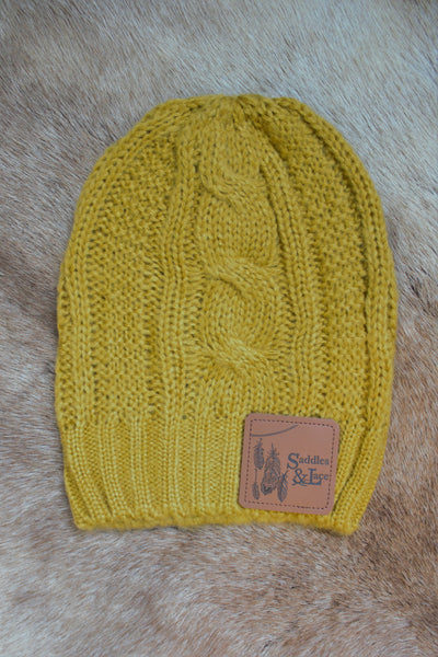 Saddles & Lace Slouch Beanie - Mustard - Saddles & Lace Boutique - Western and boho inspired clothing, bags, and accessories for women